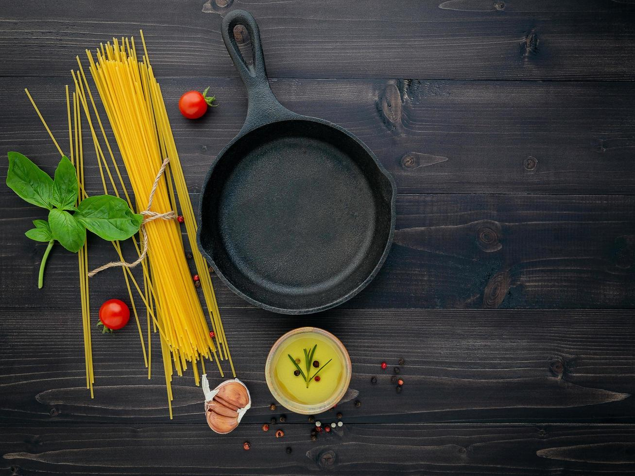 Frying pan and spaghetti with copy space photo