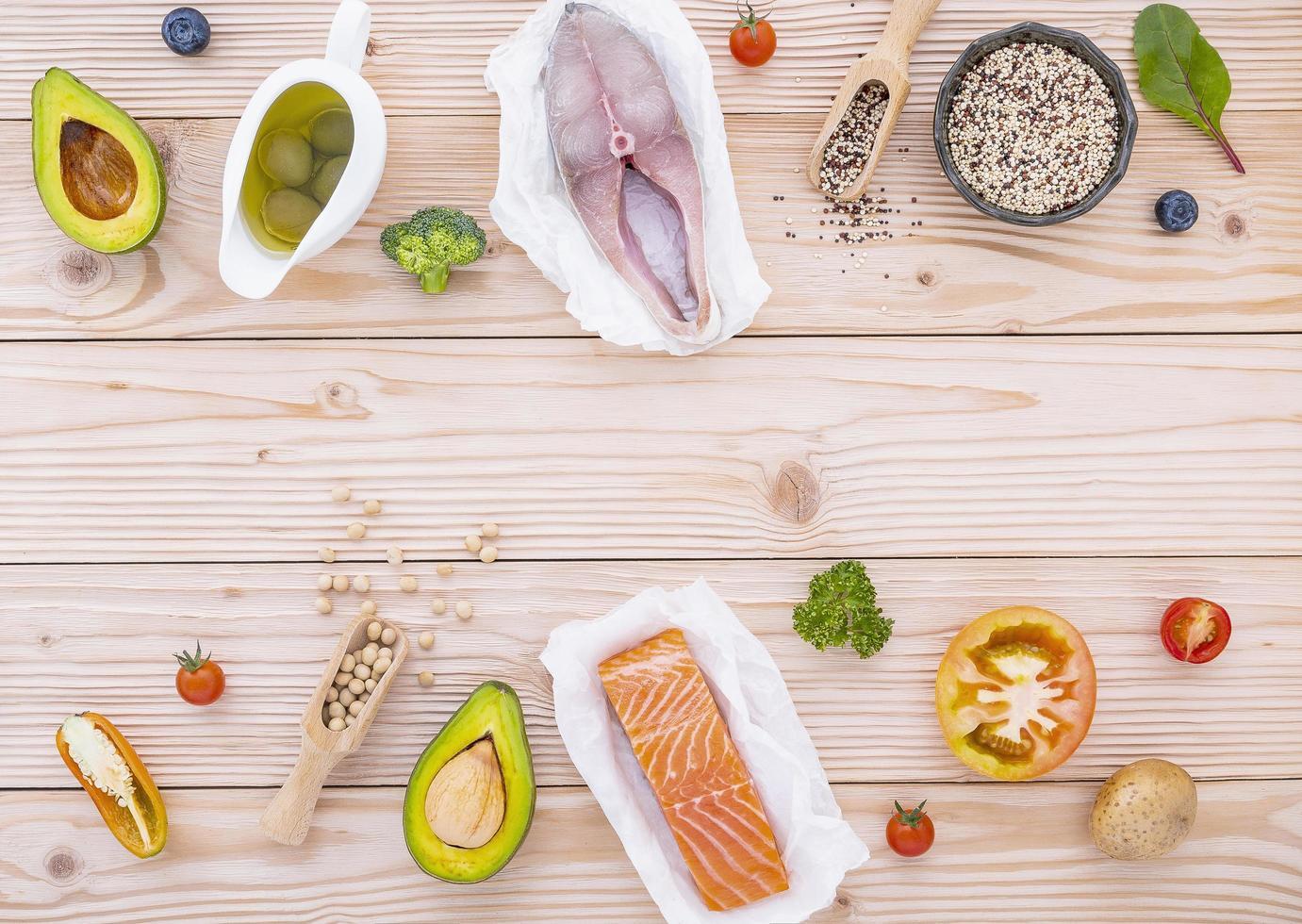 Border of raw ingredients photo