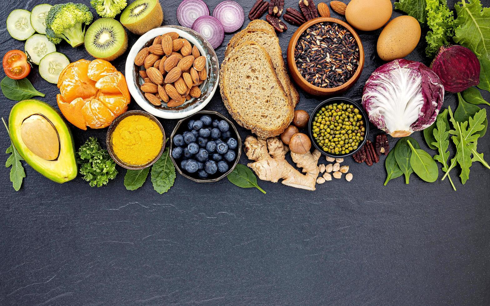 Healthy fresh foods with copy space photo