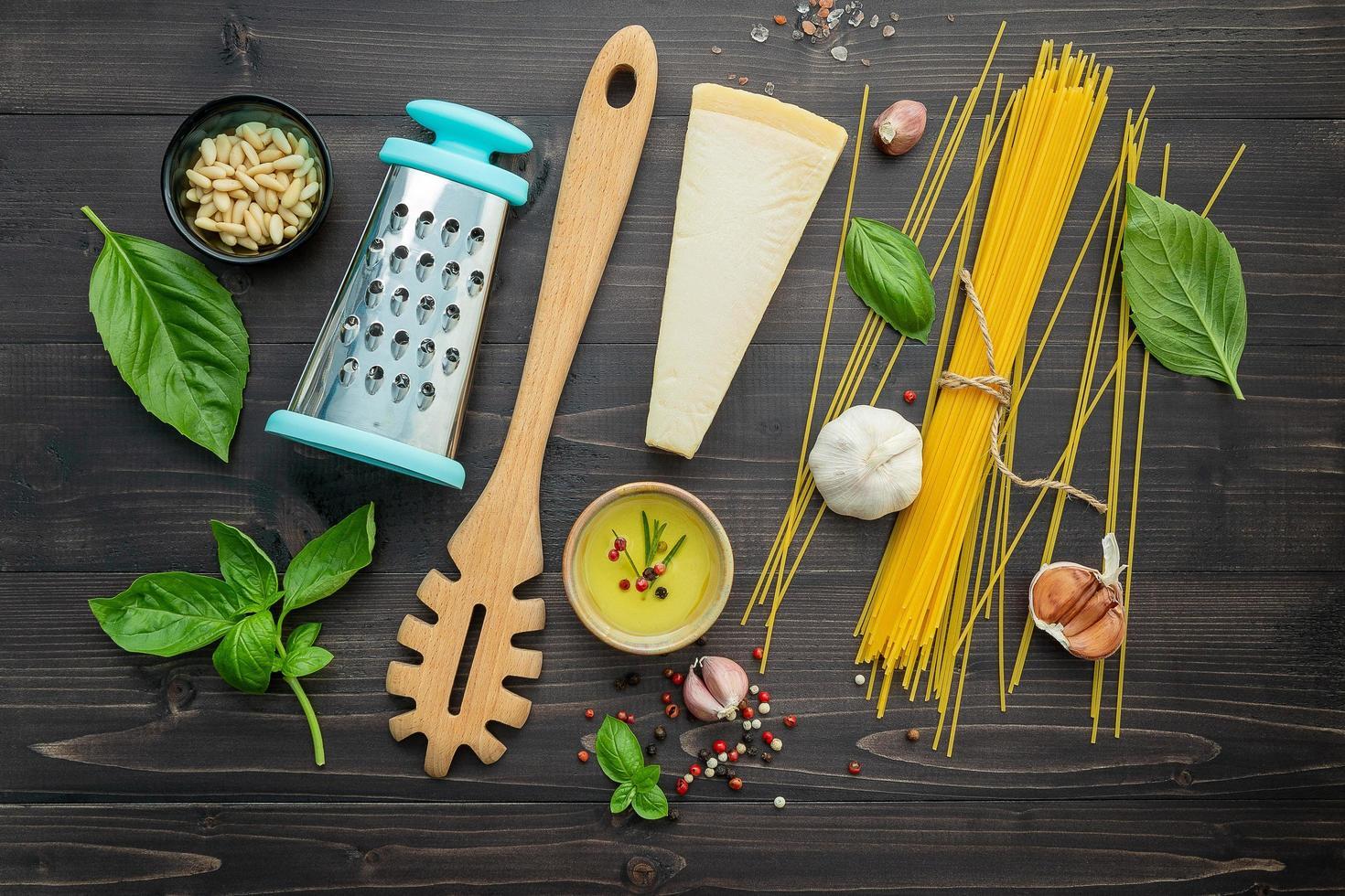 Top view of fresh spaghetti ingredients photo