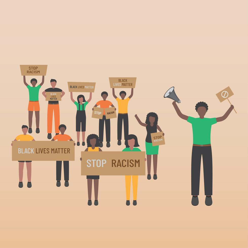 Black life matters stop racism many people are standing with banners vector