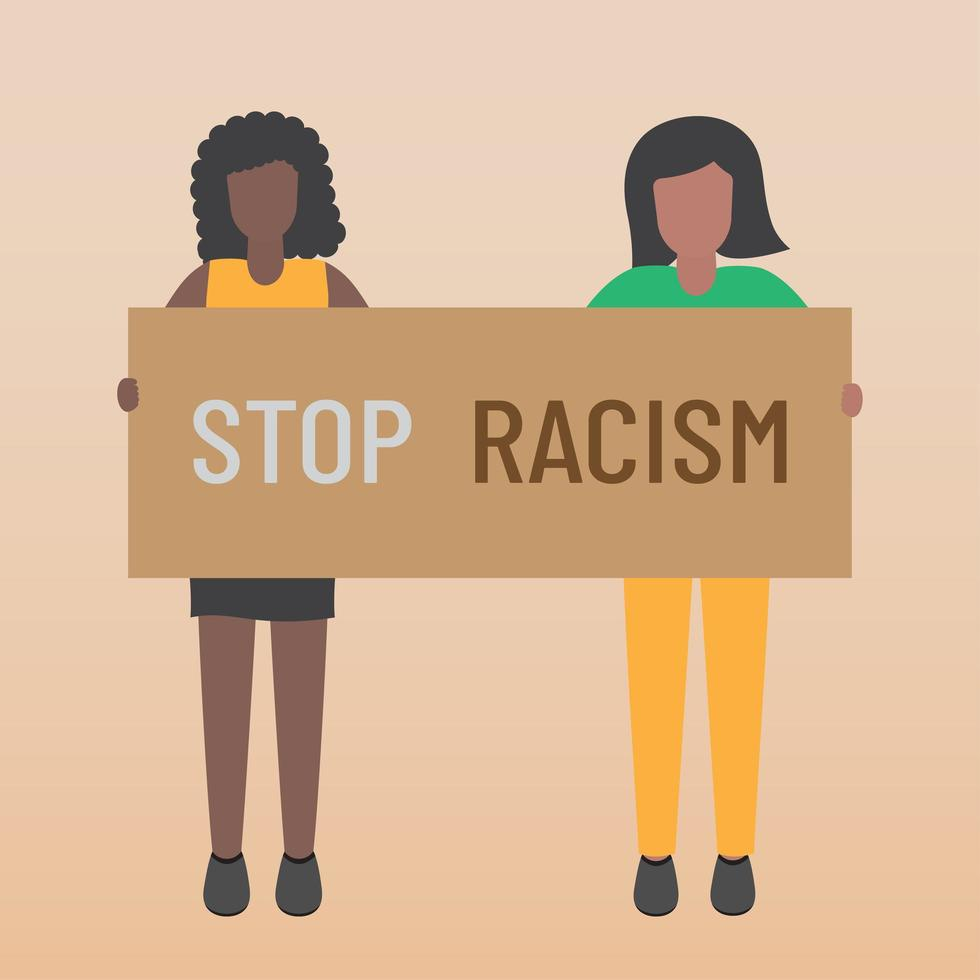 Black life matters stop the racist two young women holding signs vector