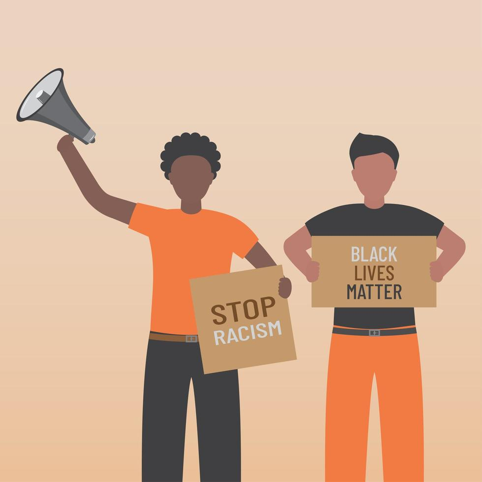 Black life matters stop the racism people with signs vector