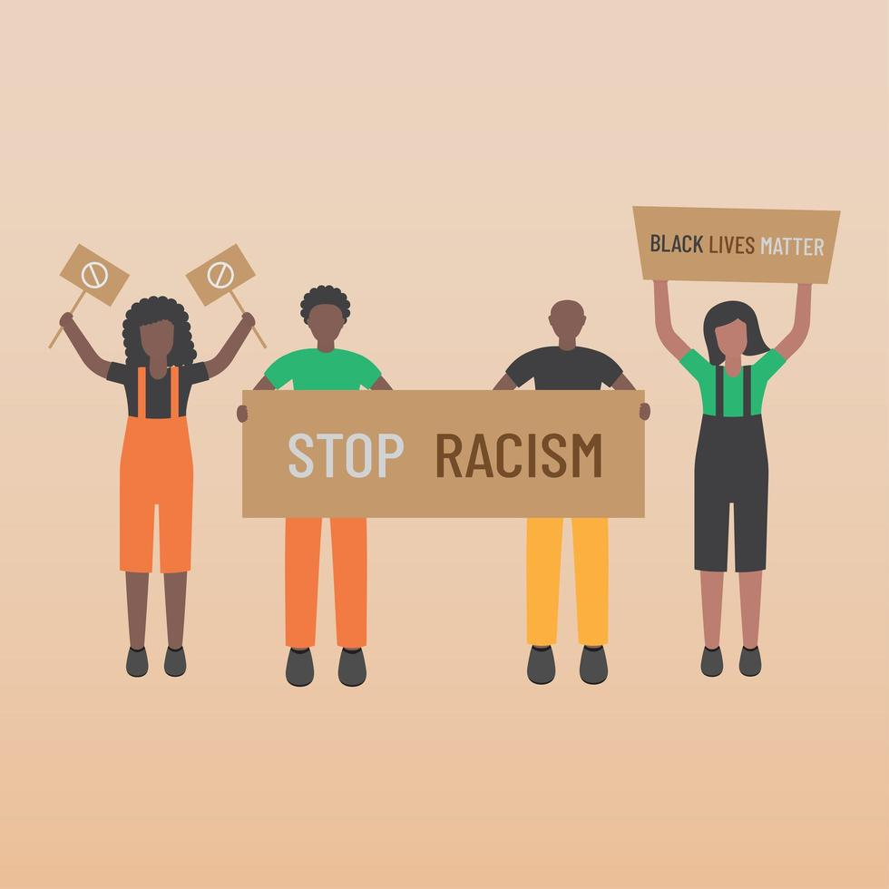Black life matters stop racism four black men and women with signs vector