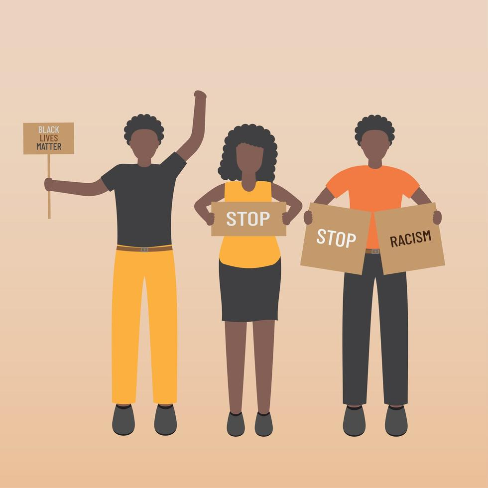 Black life matters stop the racism people holding signs vector