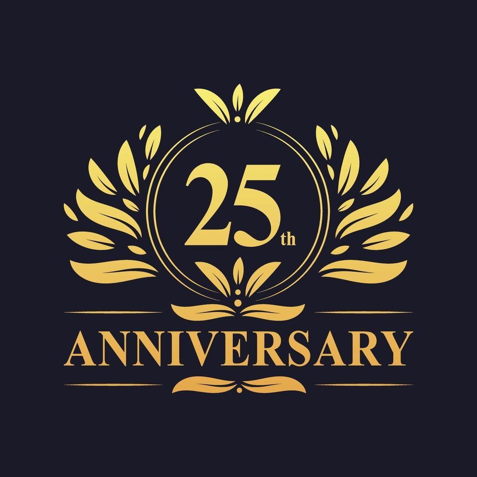 Diseño del 25 aniversario, lujoso logotipo de aniversario de 25 años de color dorado vector