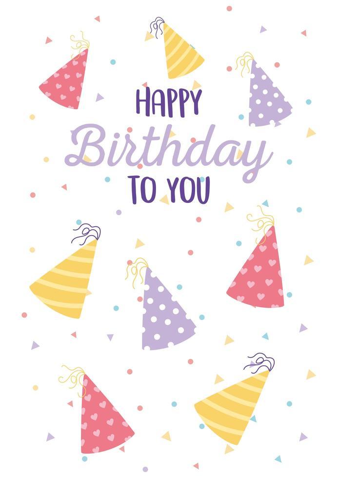 tarjeta de cumpleaños colorida con sombreros de fiesta decorativos vector