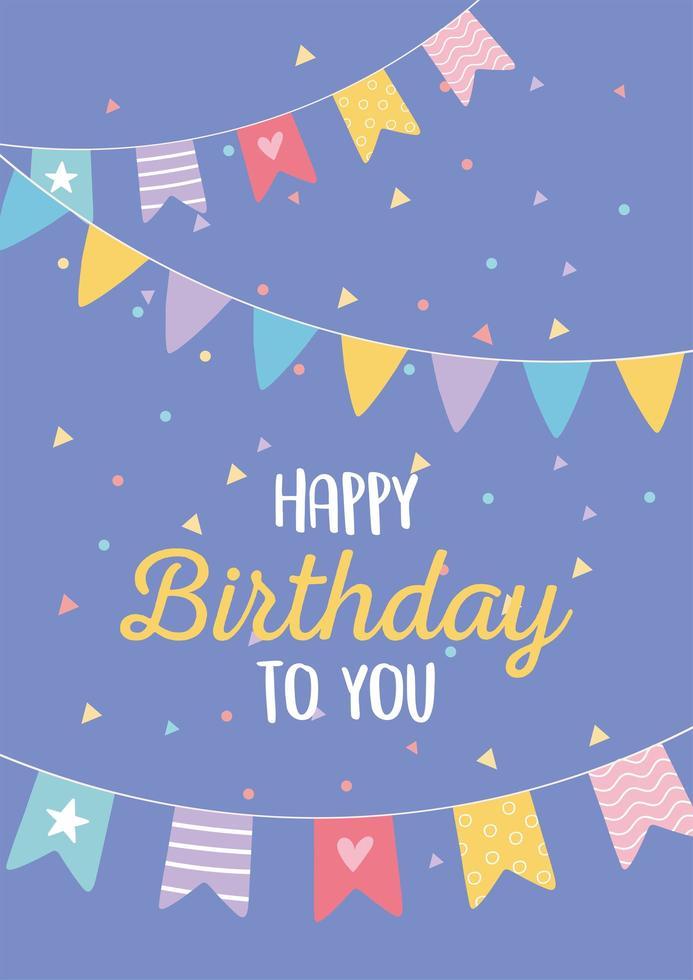 colorida tarjeta de cumpleaños con adornos para fiestas vector