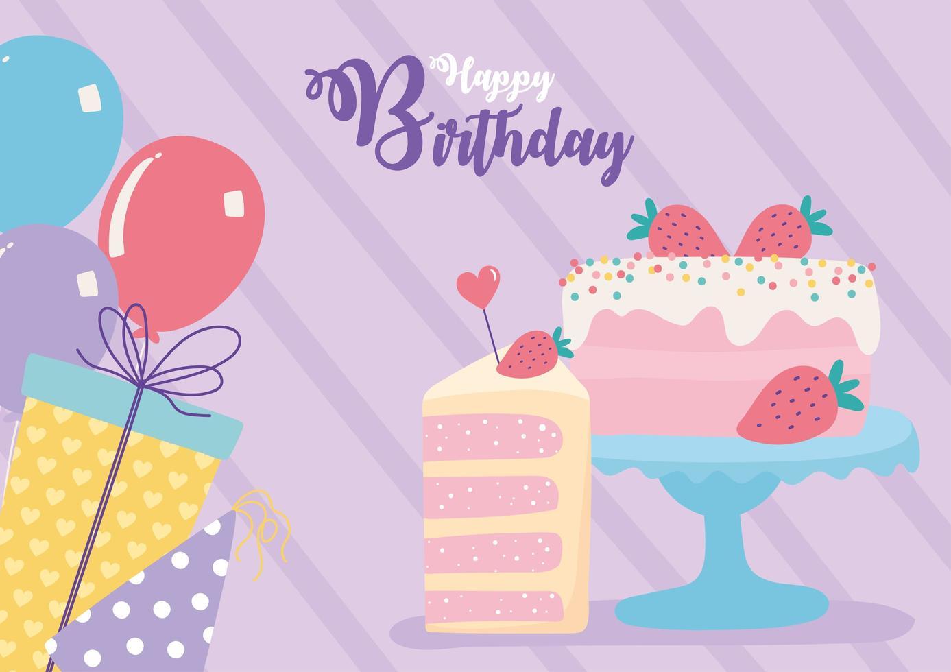tarjeta de cumpleaños colorida con pastel vector