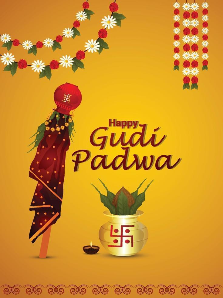 feliz gudi padwa o cartel de celebración de ugadi o tarjeta de felicitación vector