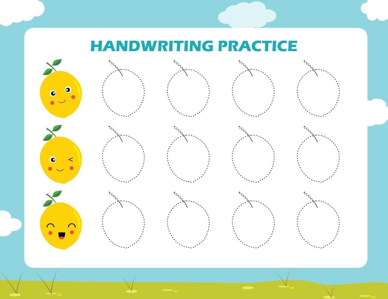 traza las líneas con frutas de dibujos animados. práctica de la escritura. vector