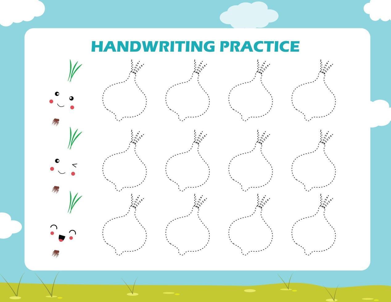 traza las líneas con cebolla de dibujos animados. práctica de la escritura. vector