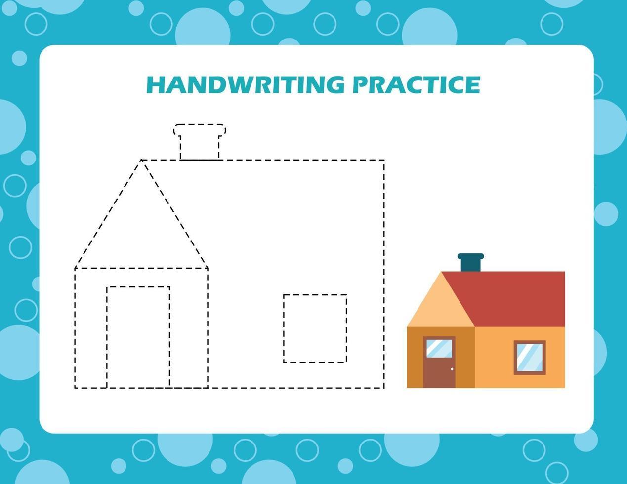 traza las líneas con la casa de dibujos animados. práctica de la escritura. vector