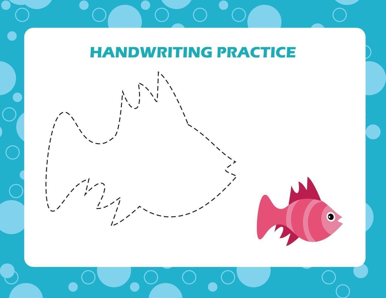 traza las líneas con peces de dibujos animados. práctica de la escritura. vector
