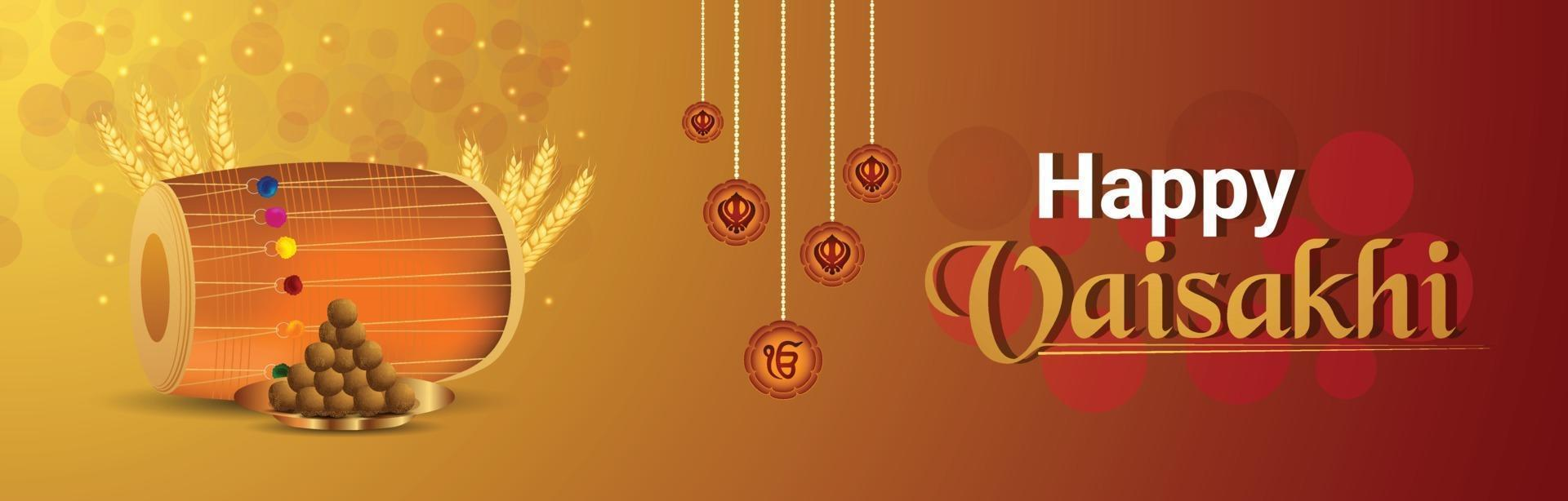 Happy vaisakhi greeting card or banner vector