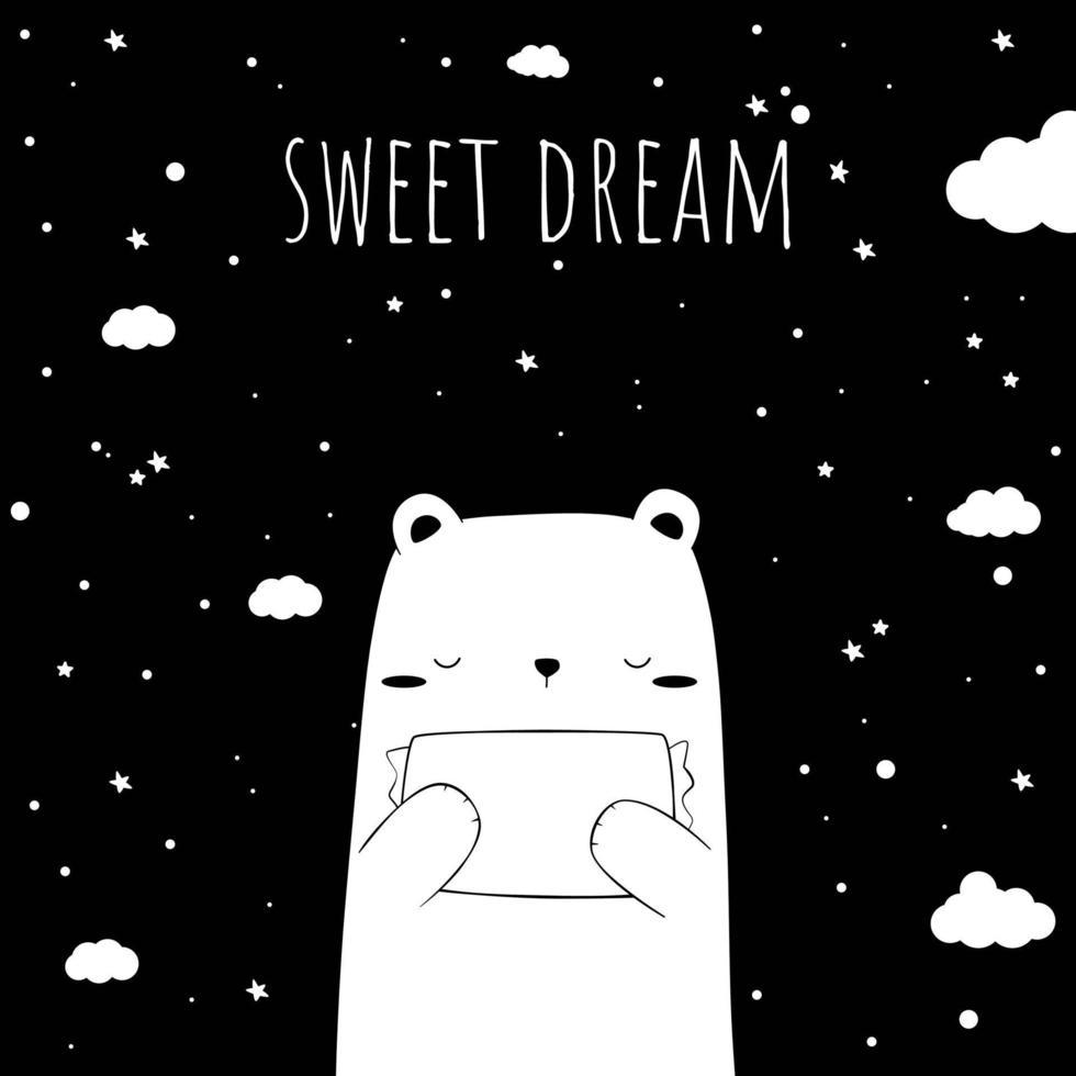 Cute black and white polar bear hugging pillow sleeping cartoon doodle card vector