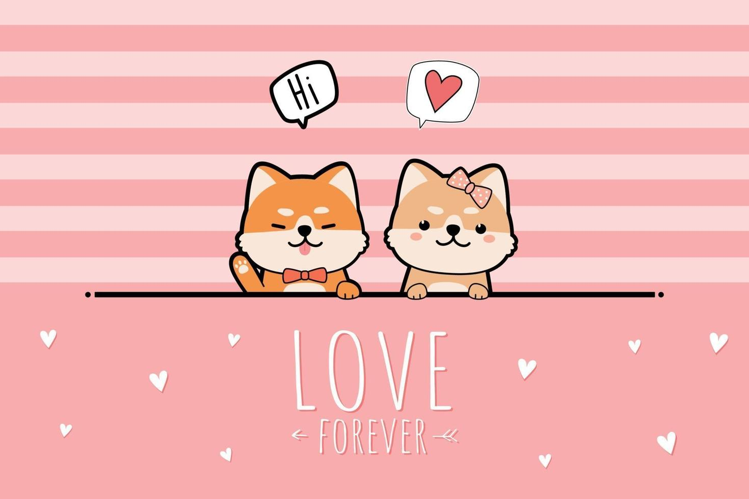 Cute shiba inu puppy lover greeting cartoon, doodle pink pastel valentine card vector