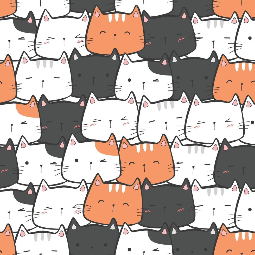 Cute kitty cat head cartoon doodle seamless pattern vector