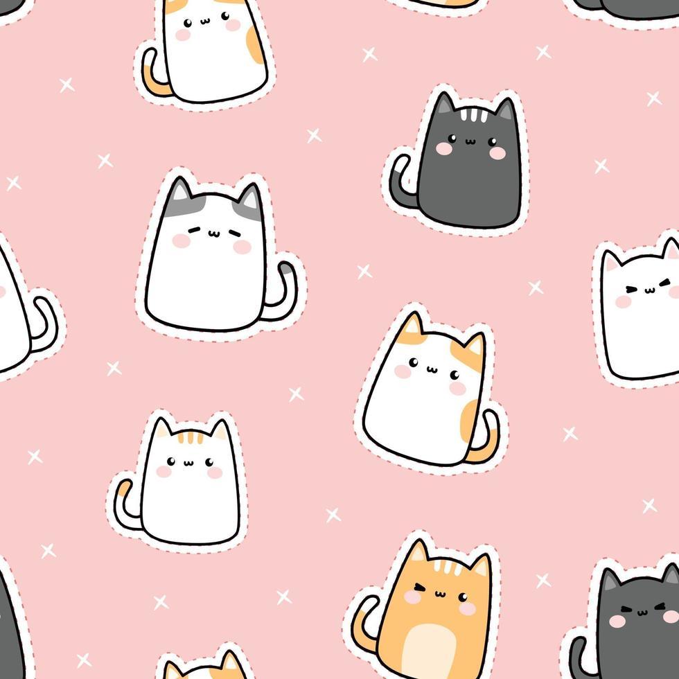 Cute chubby kitty cat cartoon doodle seamless pattern vector