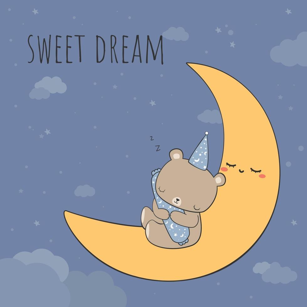 Cute teddy bear sleeping on the moon at night cartoon doodle card vector