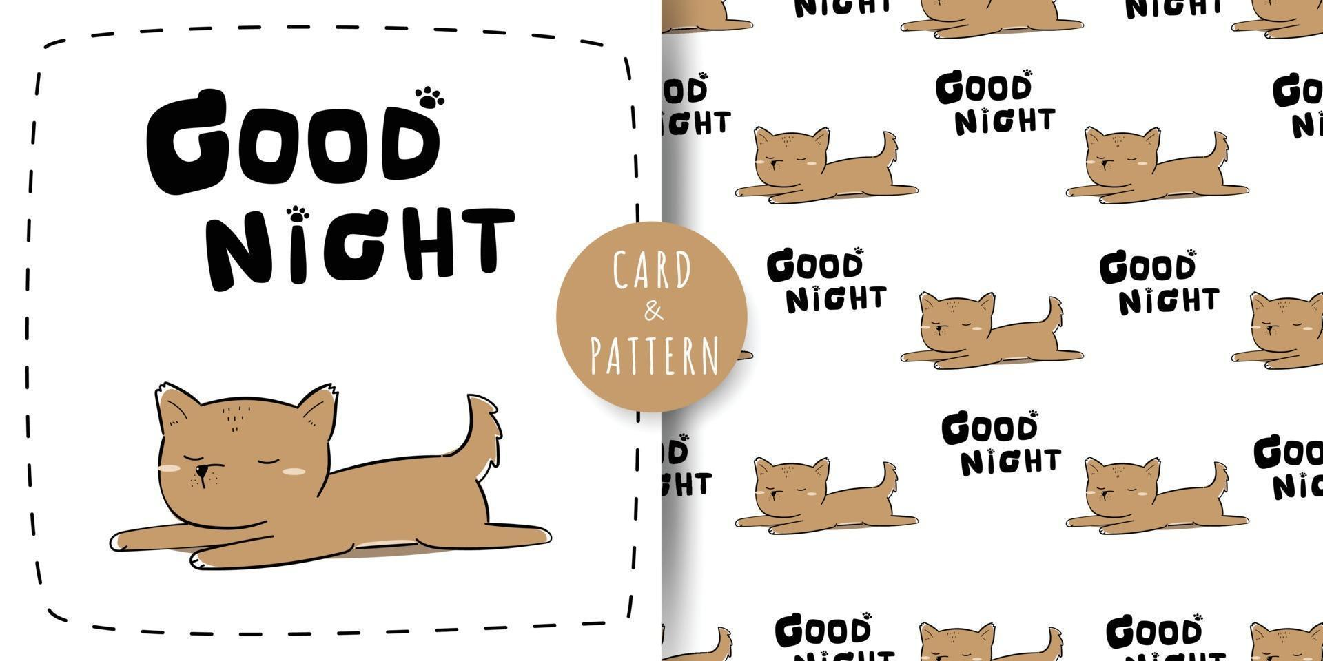 Cute little dog sleeping cartoon doodle seamless pattern and card bundle vector
