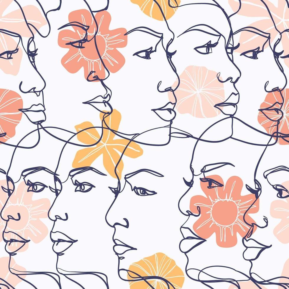 Beautiful Women Faces Line Art vector