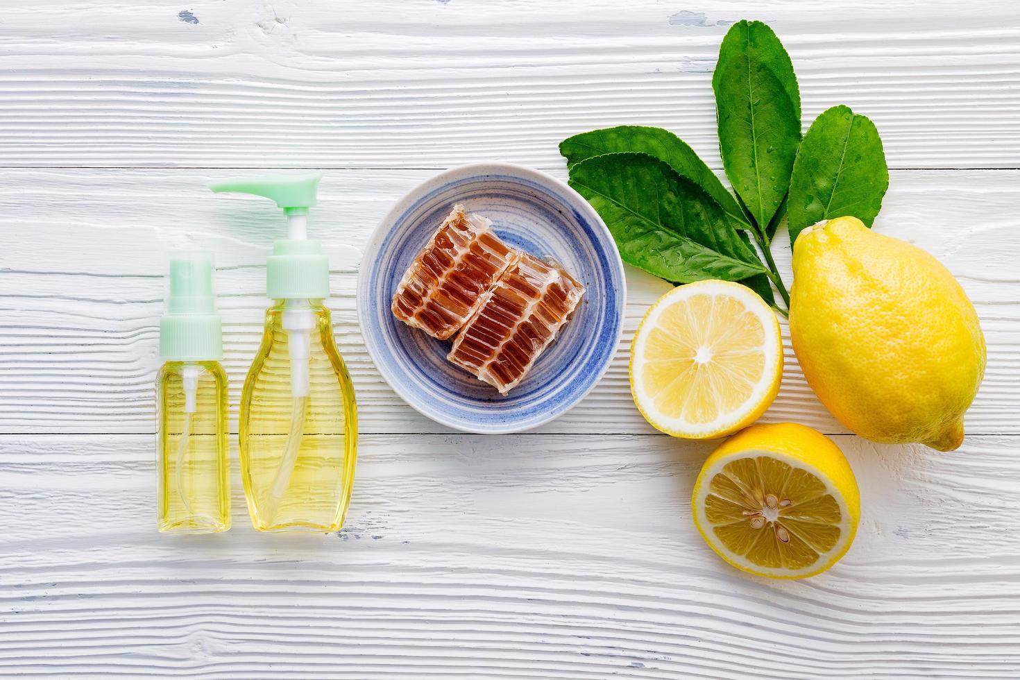 cuidado de la piel con miel y limón foto
