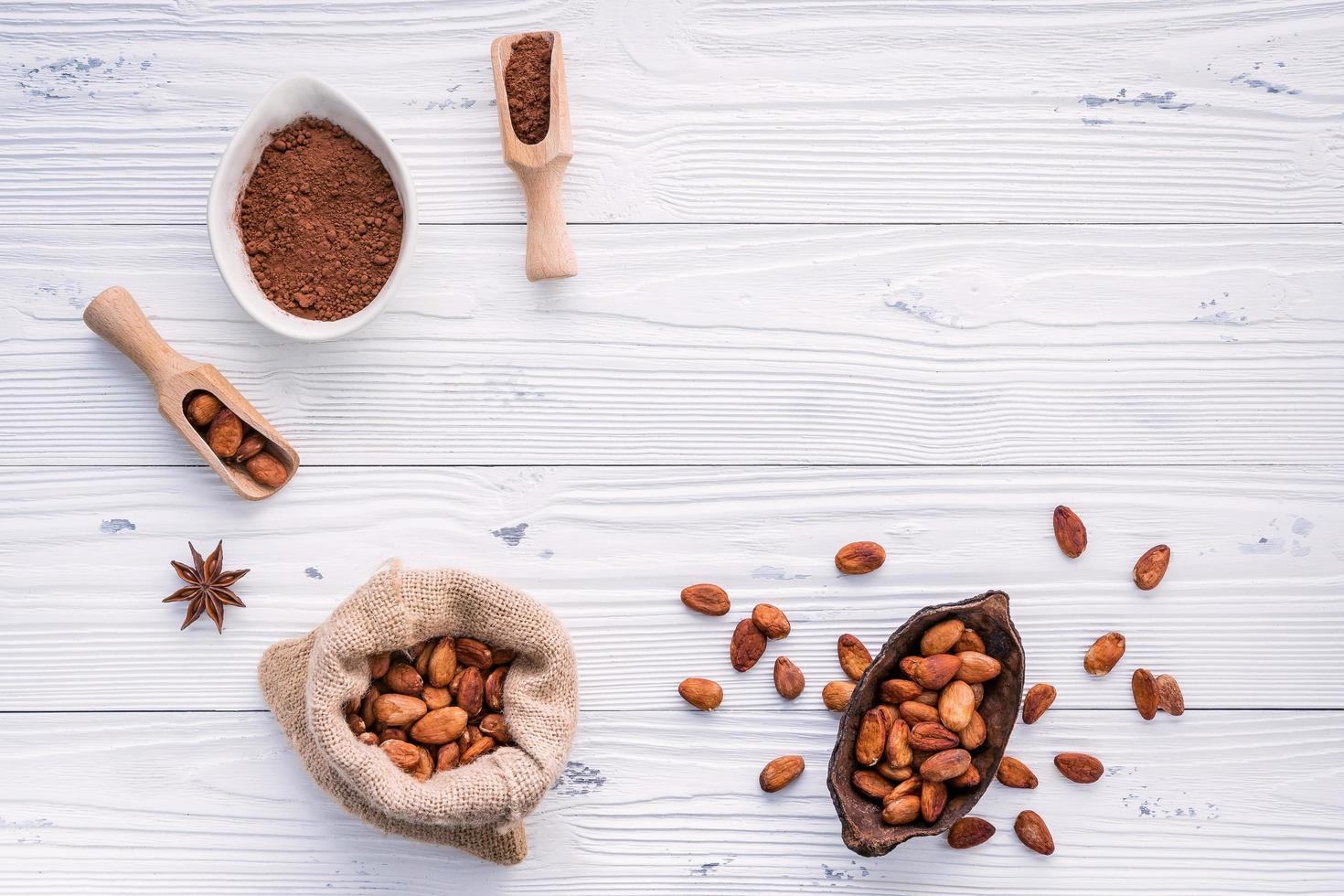 Cocoa powder and cacao beans on a white wooden background photo
