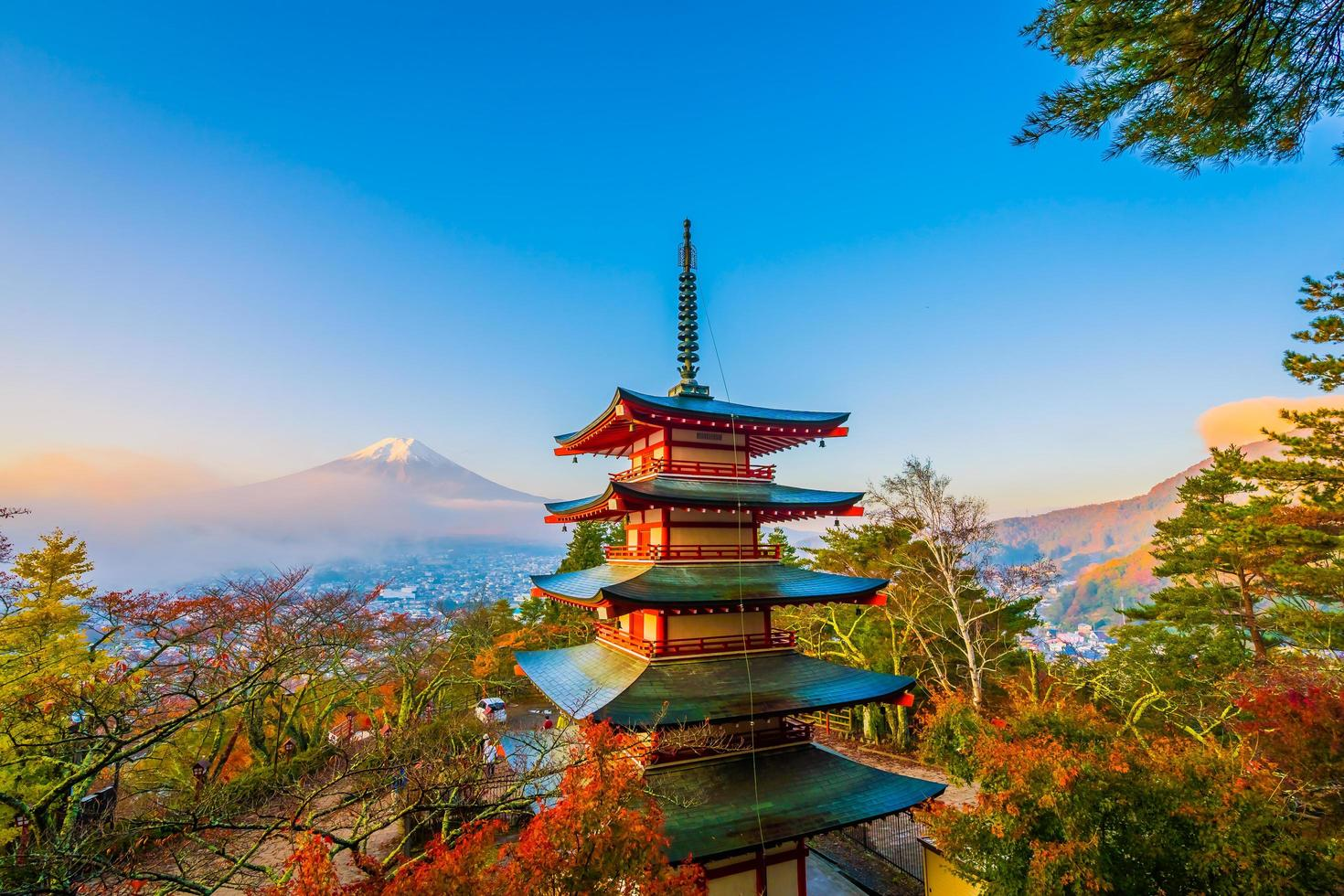 Beautiful landscape of Mt. Fuji with Chureito Pagoda, Japan photo