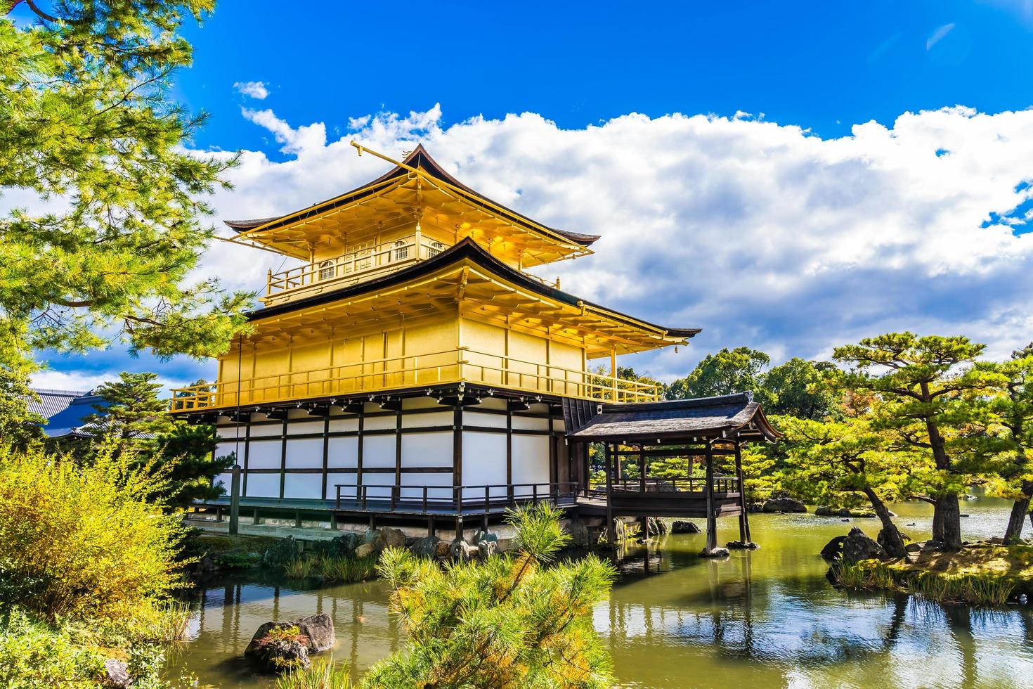 Kinkakuji temple or Golden Pavillion in Kyoto, Japan photo