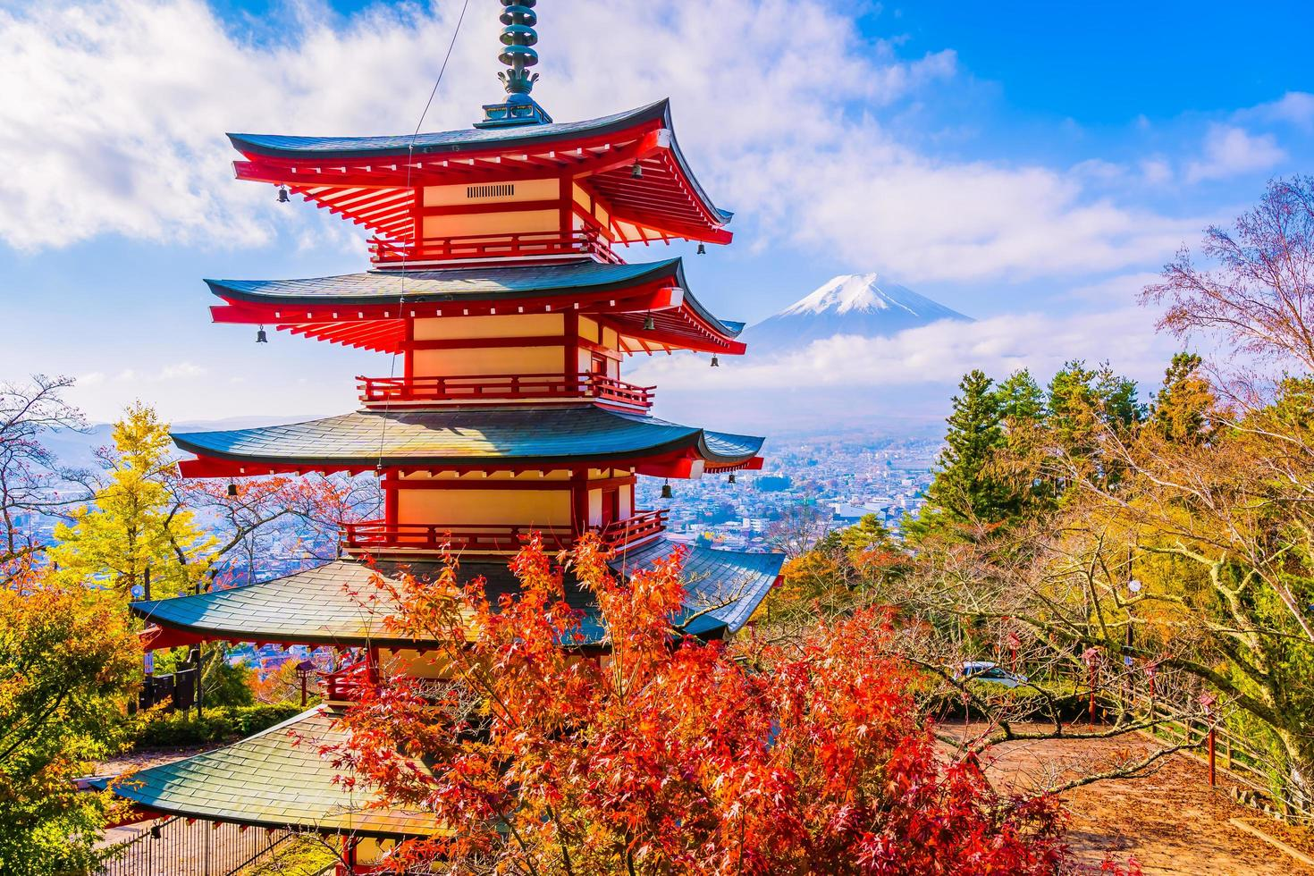 Mt. Fuji with Chureito pagoda in Japan photo
