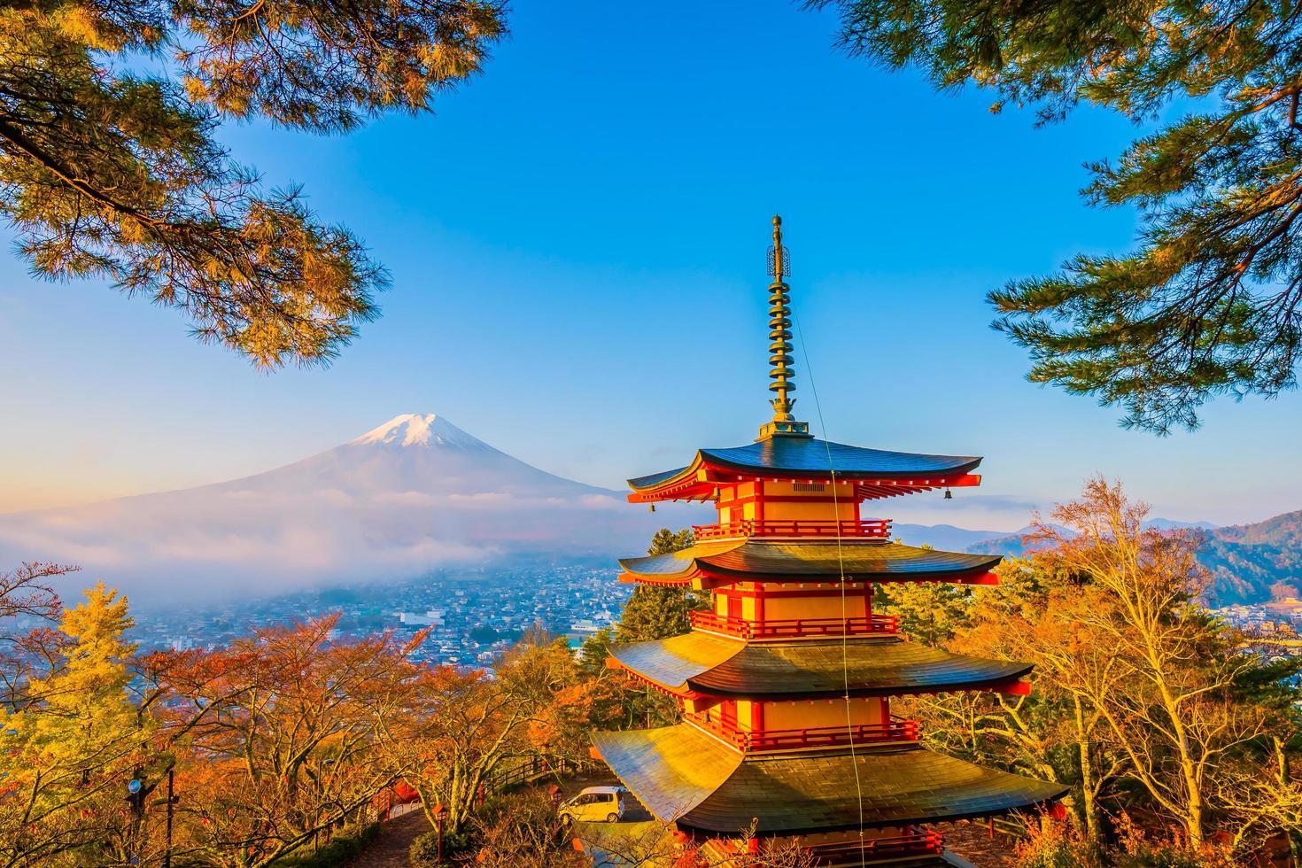 Mt. Fuji with Chureito pagoda in Japan photo