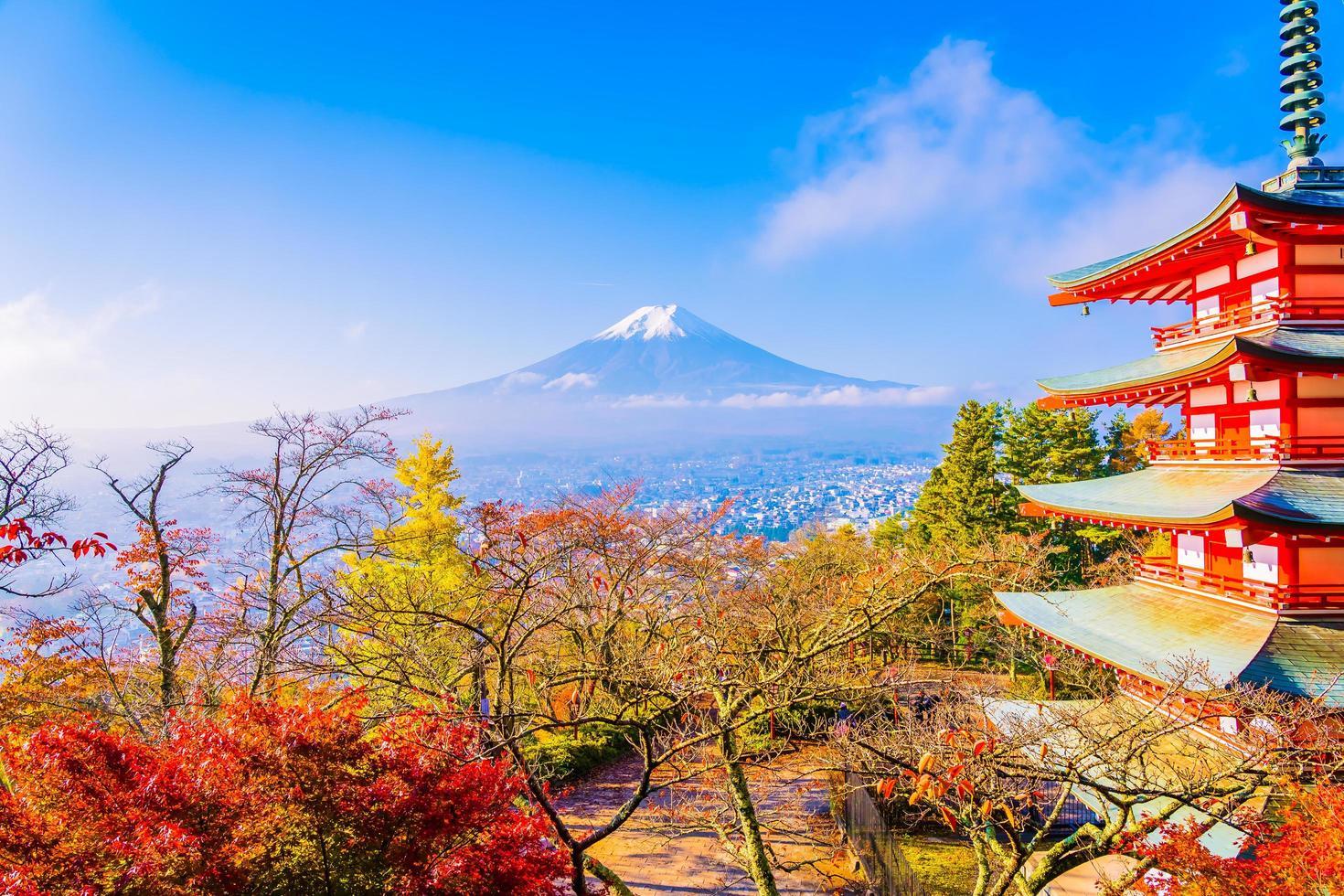 Beautiful landscape of Mt. Fuji with Chureito Pagoda, Japan photo