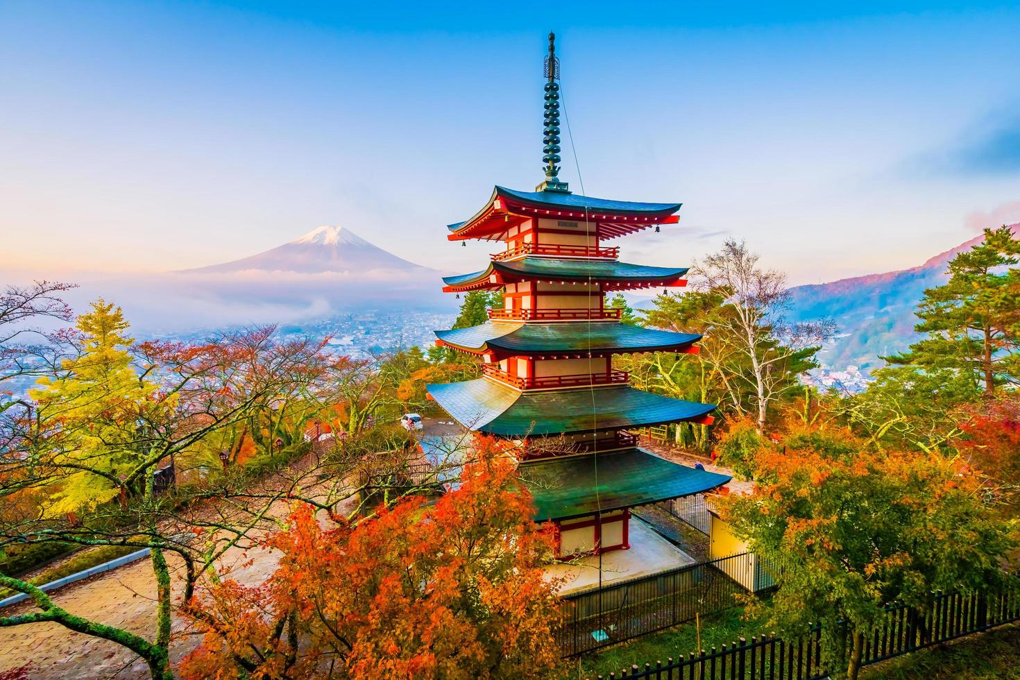 Mt. Fuji with Chureito pagoda in Japan in autumn photo