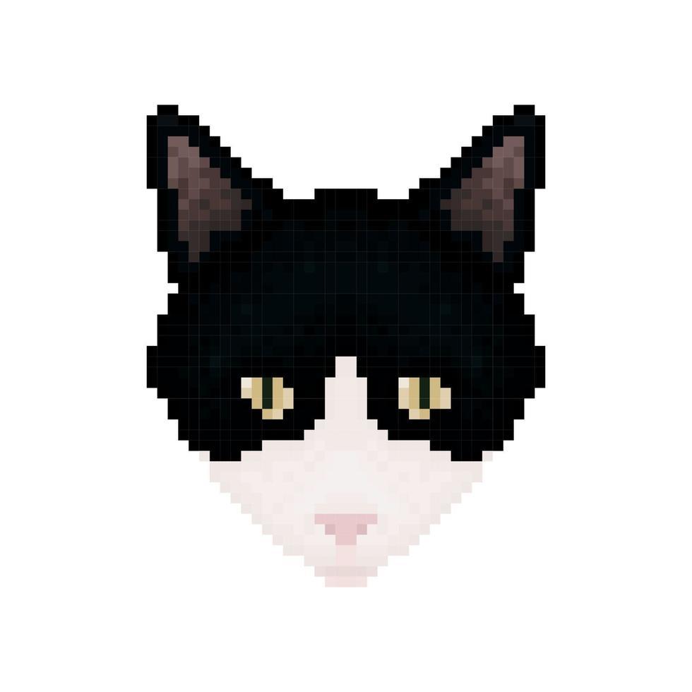 Cat head. Pixel art. Pet animal. Vector illustration.