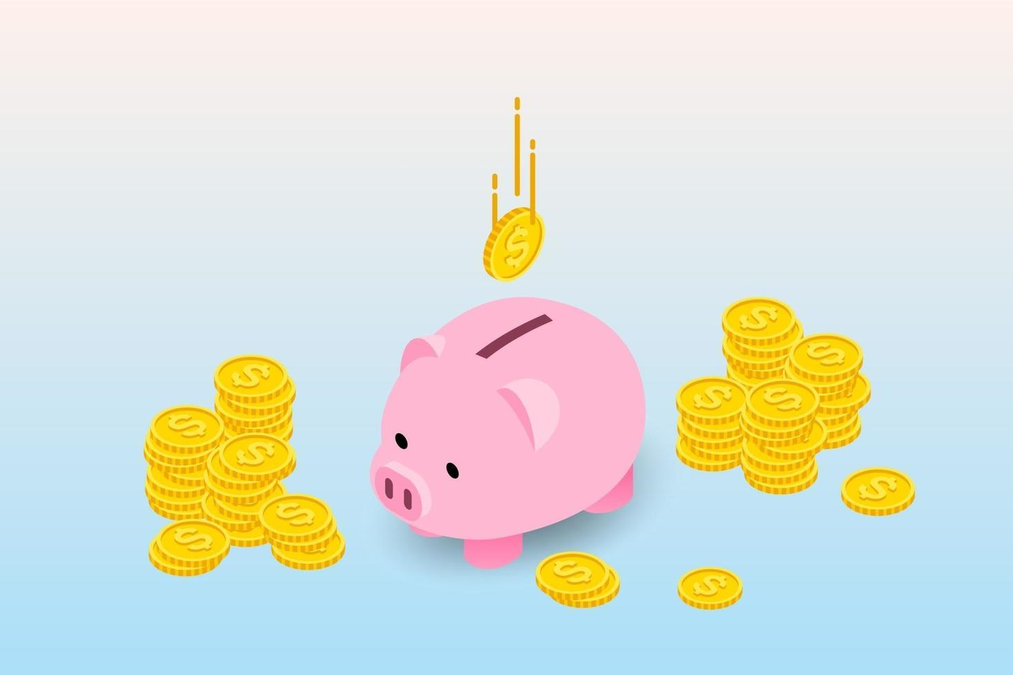 Isometric design of piggy bank with coins and falling coins. The money collecting concept, deposit for future investment in financial institution. vector