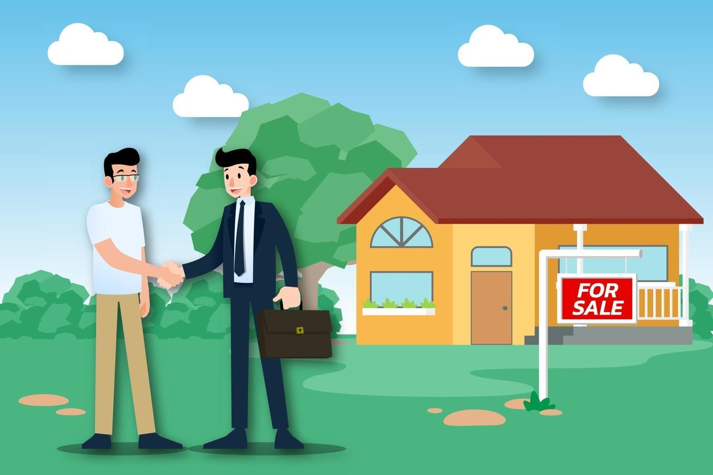 The realtor shows the new beautiful modern house for sale to client and make a successful deal. Vector illustration in flat design.