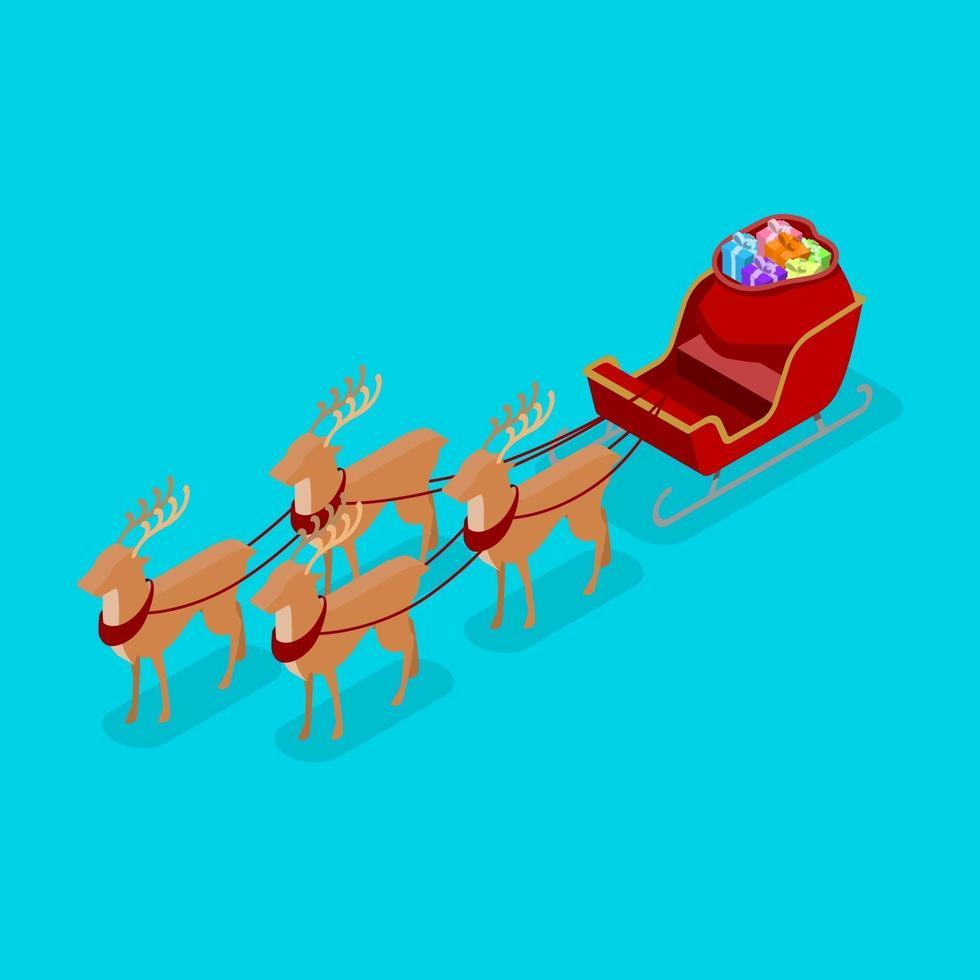 Trineo de Navidad rojo con cuatro ciervos y una gran bolsa de regalo, estilo vector isométrico.