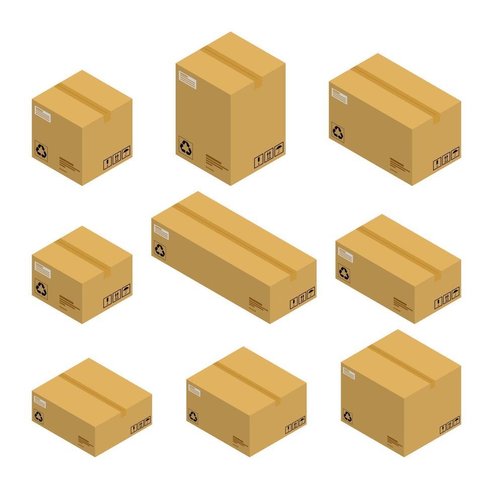 conjunto de cajas de cartón isométricas, paquetes aislados sobre fondo blanco. diseño plano de ilustración vectorial. vector