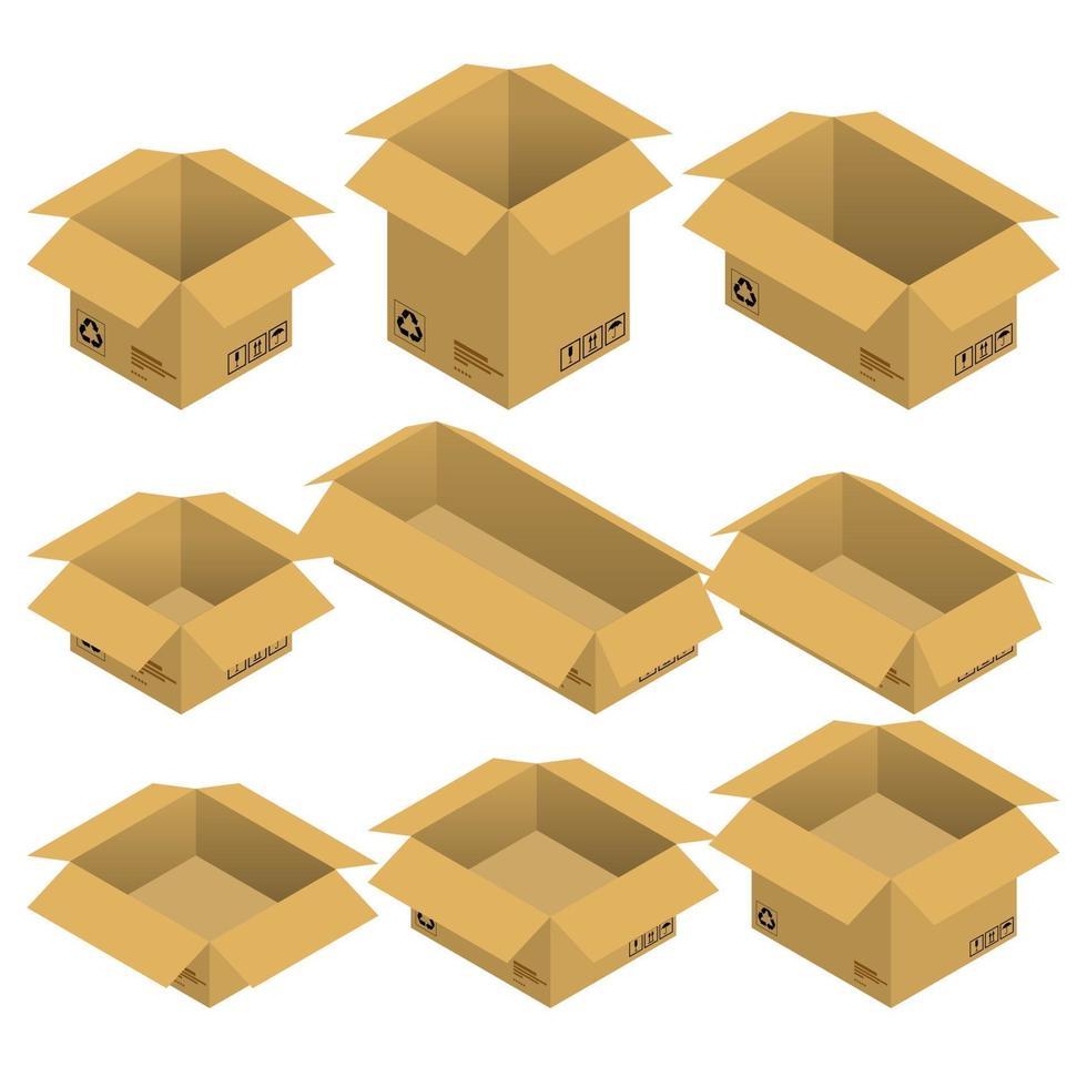 conjunto de cajas de cartón abiertas isométricas, paquetes aislados sobre fondo blanco. diseño plano de ilustración vectorial. vector