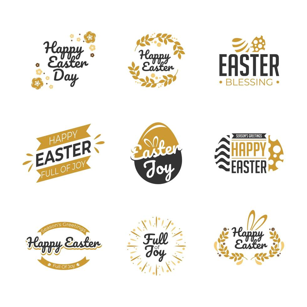 Happy Easter Label Template Set vector