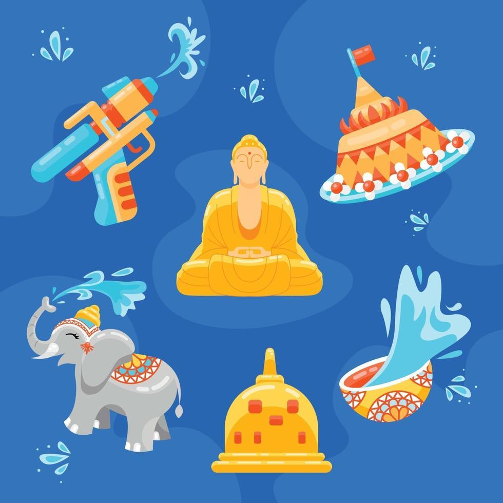 Collection of Songkran Icon vector