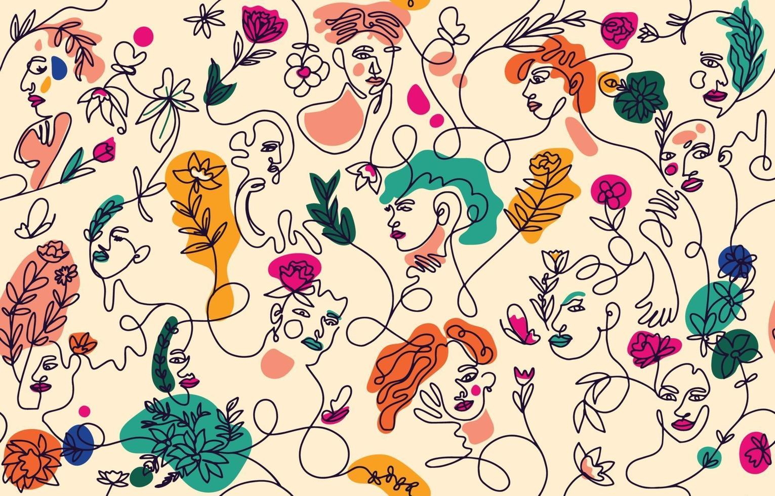 Set of Woman's Face with Plant Abstract vector