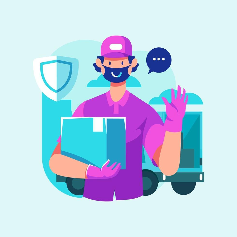 Safe Delivery Man Full Protection Holding Item vector