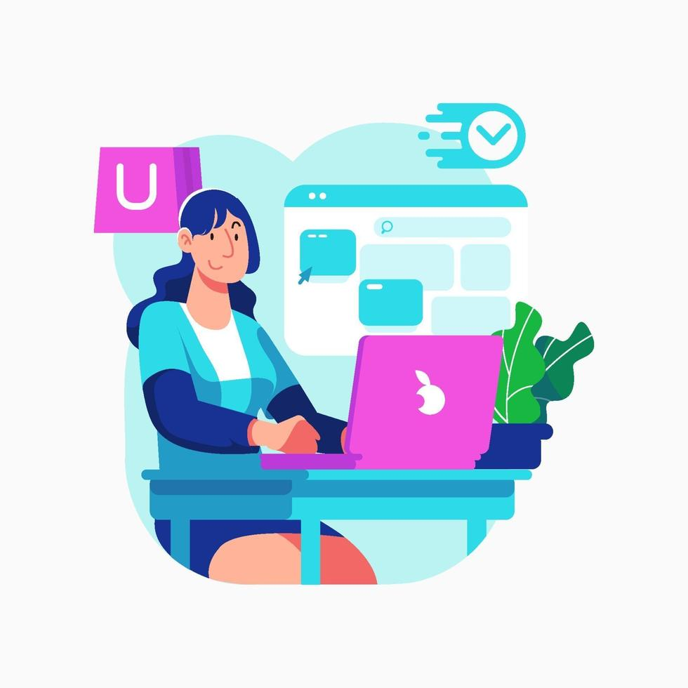 Women Shopping Online With Her Laptop Concept vector