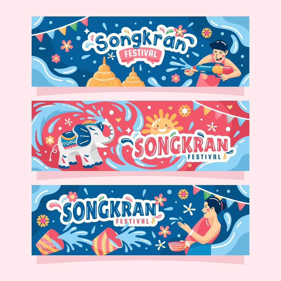 Cute Songkran Festival Banner vector
