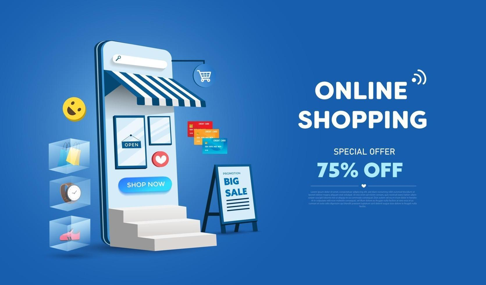 Online shopping store on website and mobile phone design. Smart business  marketing concept. Horizontal view. Vector Illustration 2058986 Vector Art  at Vecteezy
