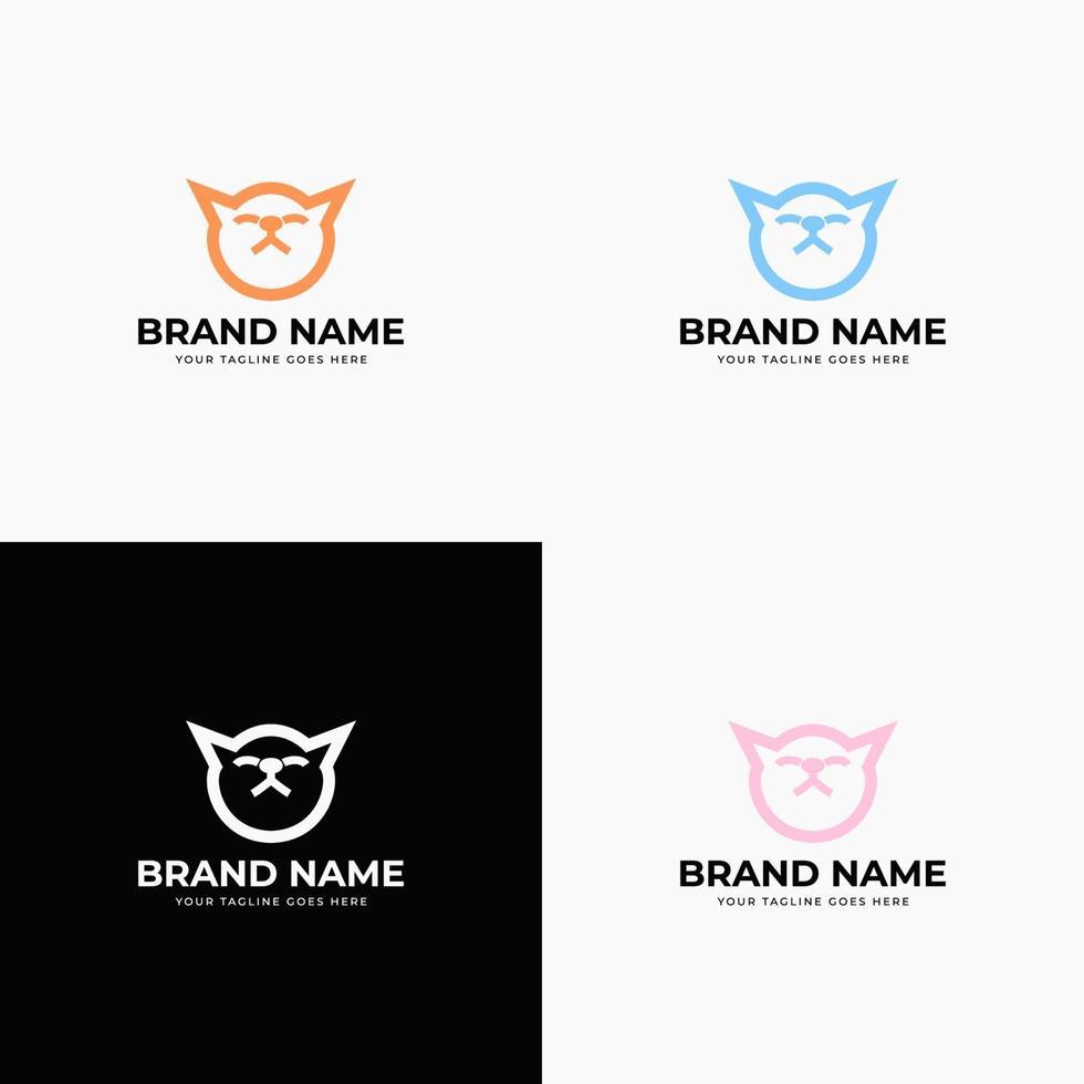 Creative modern line art style minimal cat head logo design concept template vector illustration for pet shop company branding or business startup