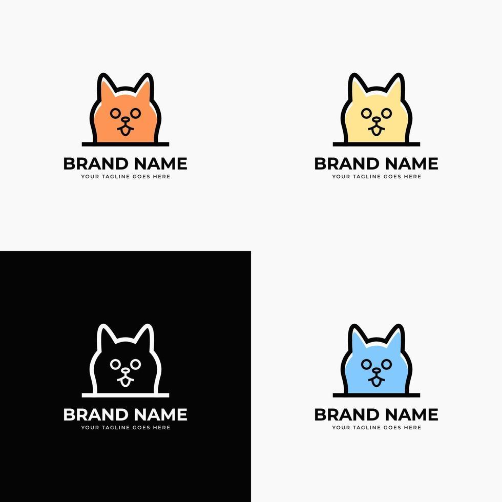 Creative modern minimalist line art style minimal cat head logo design concept template vector illustration for pet shop company branding or business startup