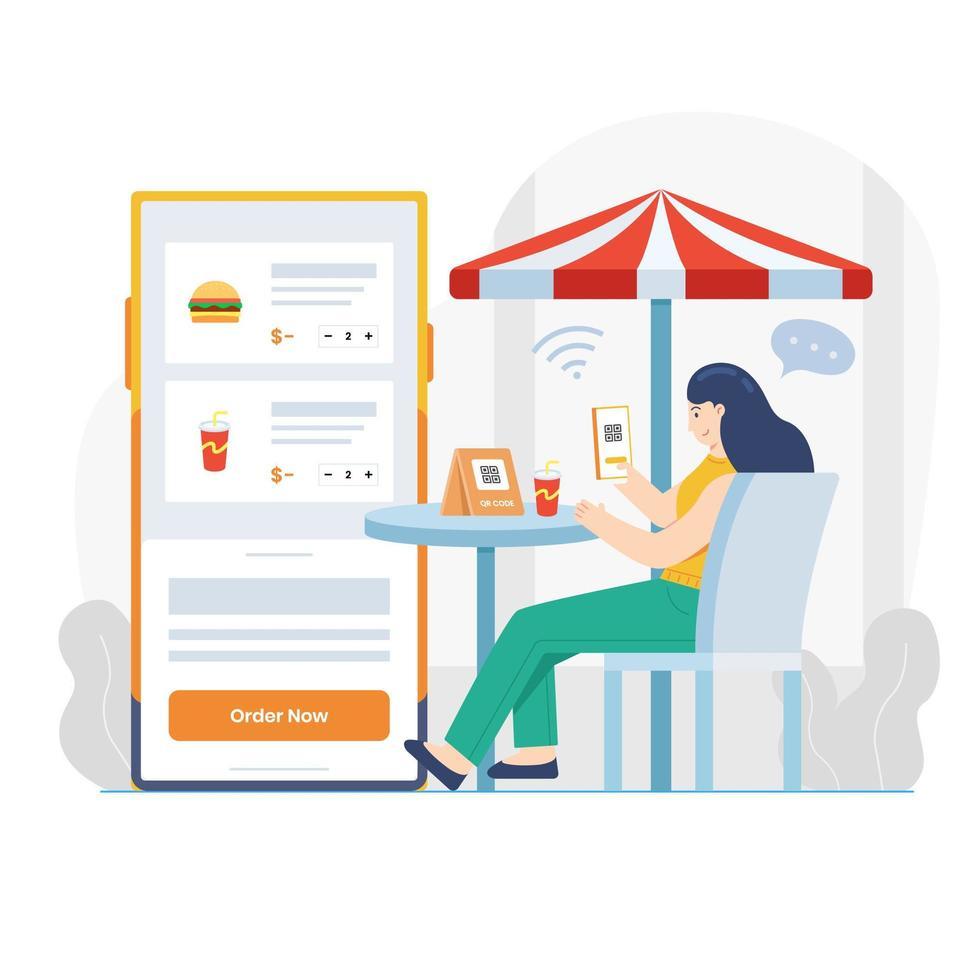 Ordering Food Online in Cafe vector